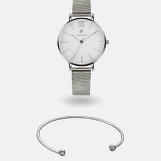 Sada dámskych hodiniek a náramku v striebornej farbe Paul McNeal