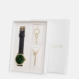 Sada dámskeho náramku, náhrdeľníku a hodiniek s čiernym koženým remienkom a-nis