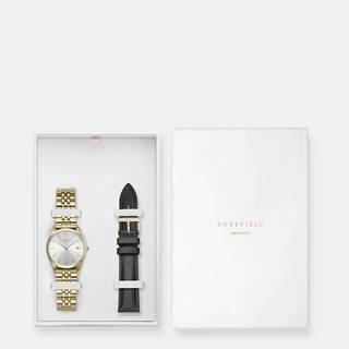 Sada dámskych hodiniek a náhradného remienku v čiernej a zlatej farbe Rosefield