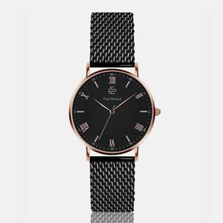Unisex hodinky s čiernym nerezovým remienkom Paul McNeal