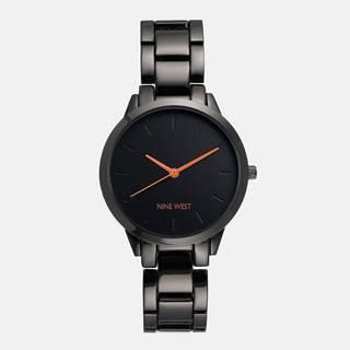 Dámske hodinky s čiernym kovovým remienkom Nine West