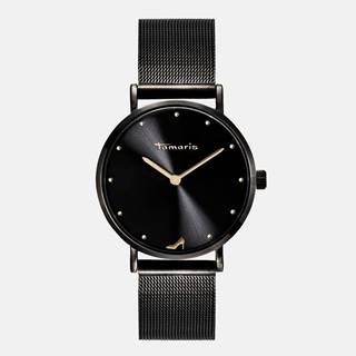 Dámske hodinky s čiernym kovovým remienkom Tamaris