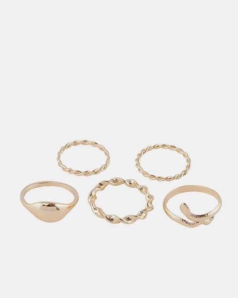 Sada piatich prsteňov v zlatej farbe Pieces Jifra
