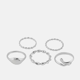 Sada piatich prsteňov v striebornej farbe Pieces Jifra