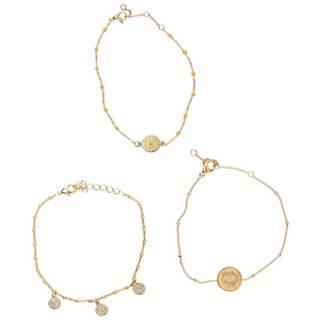 Sada troch náramkov v zlatej farbe  Ara