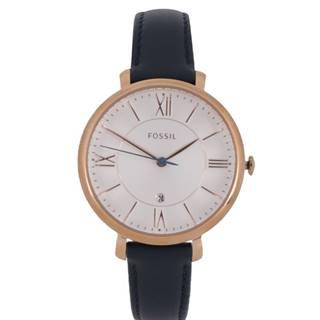 Dámske hodinky v zlatej farbe s tmavomodrým koženým remienkom  Jacqueline