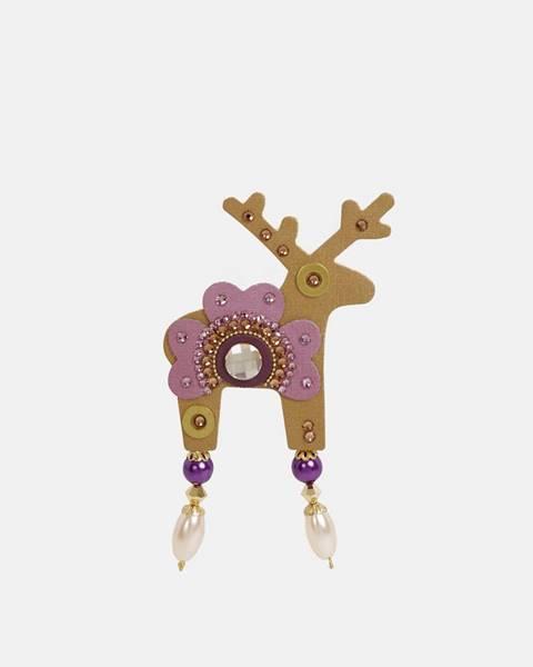 Veľká brošňa v zlatej farbe s kamienkami Preciosa Components Deers Roveroni